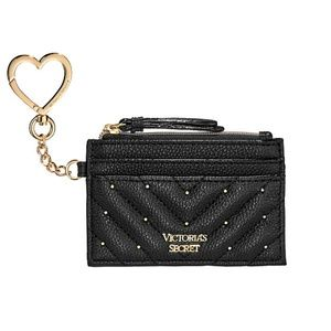 VICTORIA'S SECRET Studded Quilt Card Case Keychain